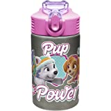 Zak Designs Paw Patrol Skye - Stainless Steel Water Bottle with One Hand Operation Action Lid and Built-in Carrying Loop…