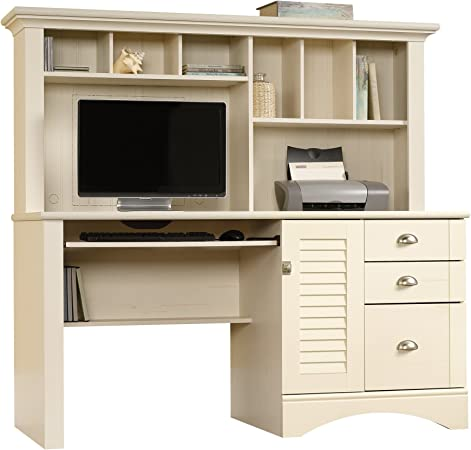 Sauder Harbor View Computer Desk With Hutch Antiqued White Finish