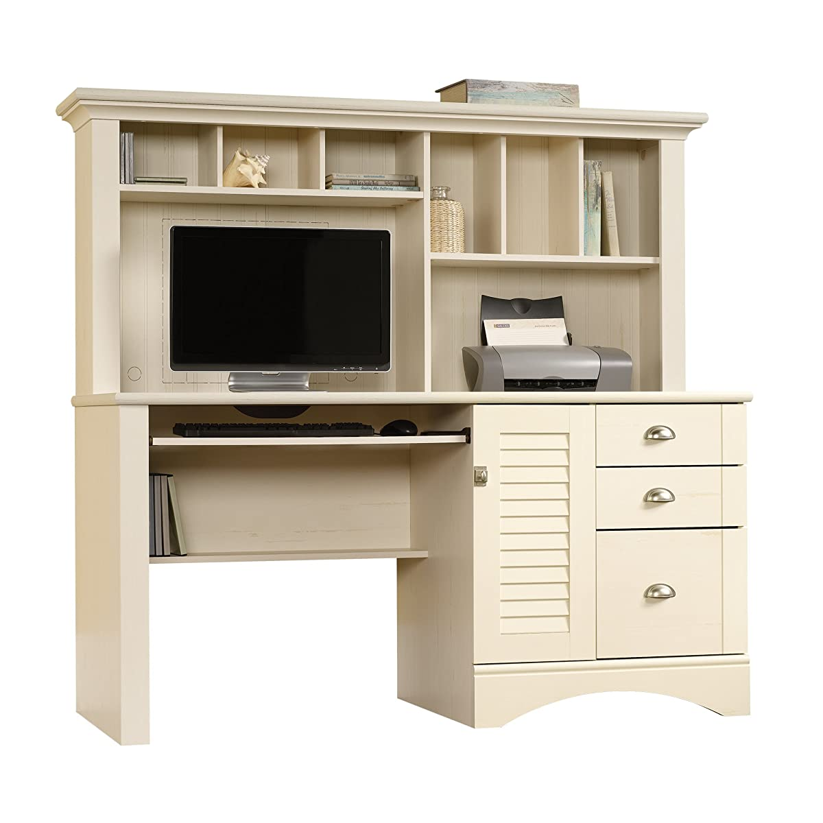 Sauder Harbor View Computer Desk with Hutch, Antiqued White