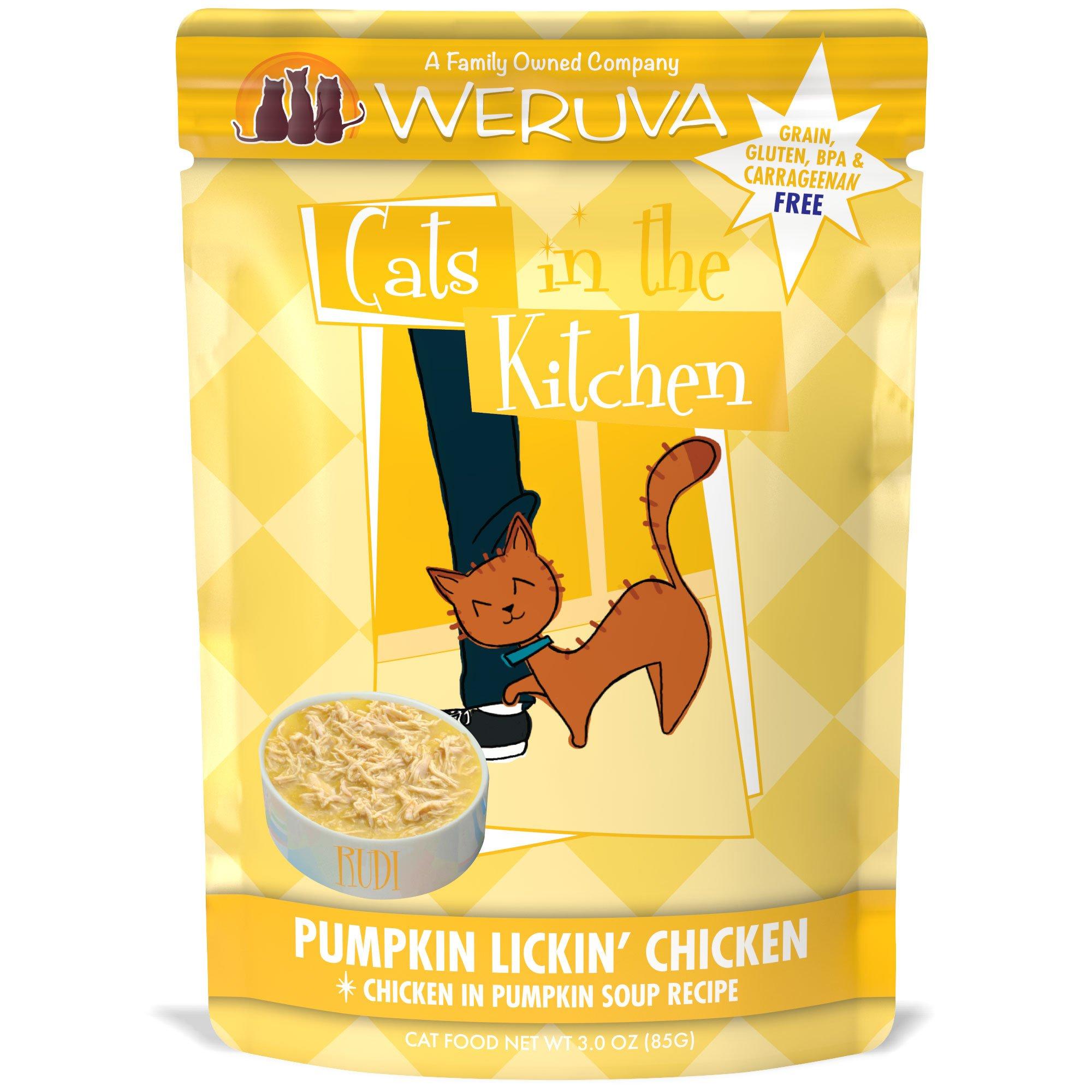 Weruva Cats in the Kitchen, Pumpkin Lickin' Chicken with Chicken Breast in Pumpkin Soup Cat Food, 3oz Pouch (Pack of 8)
