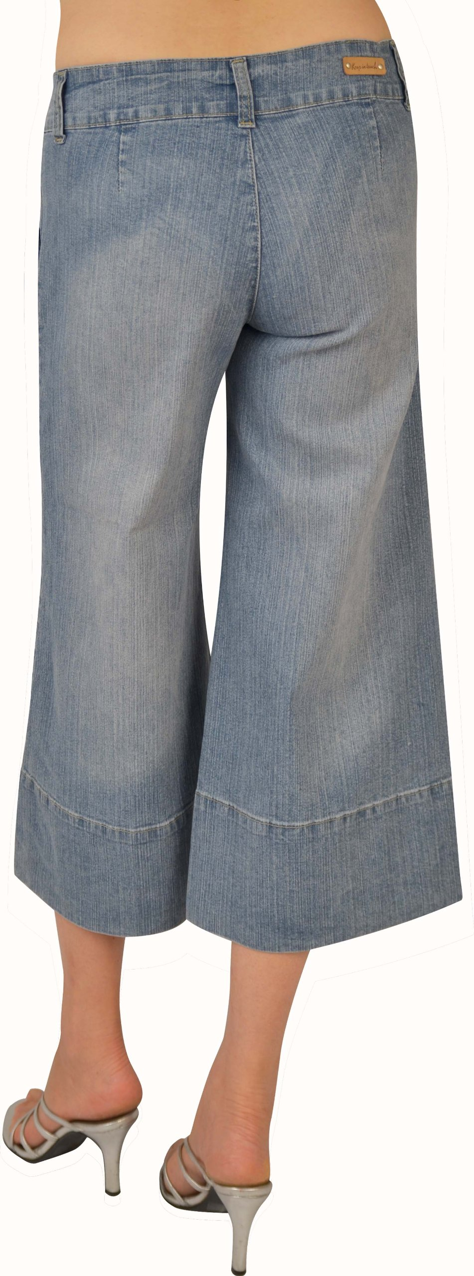 Kit Womens Lt. Sand Blue Stretch Denim Gaucho #L217 Size: 9 by KEEP IN TOUCH (Image #2)