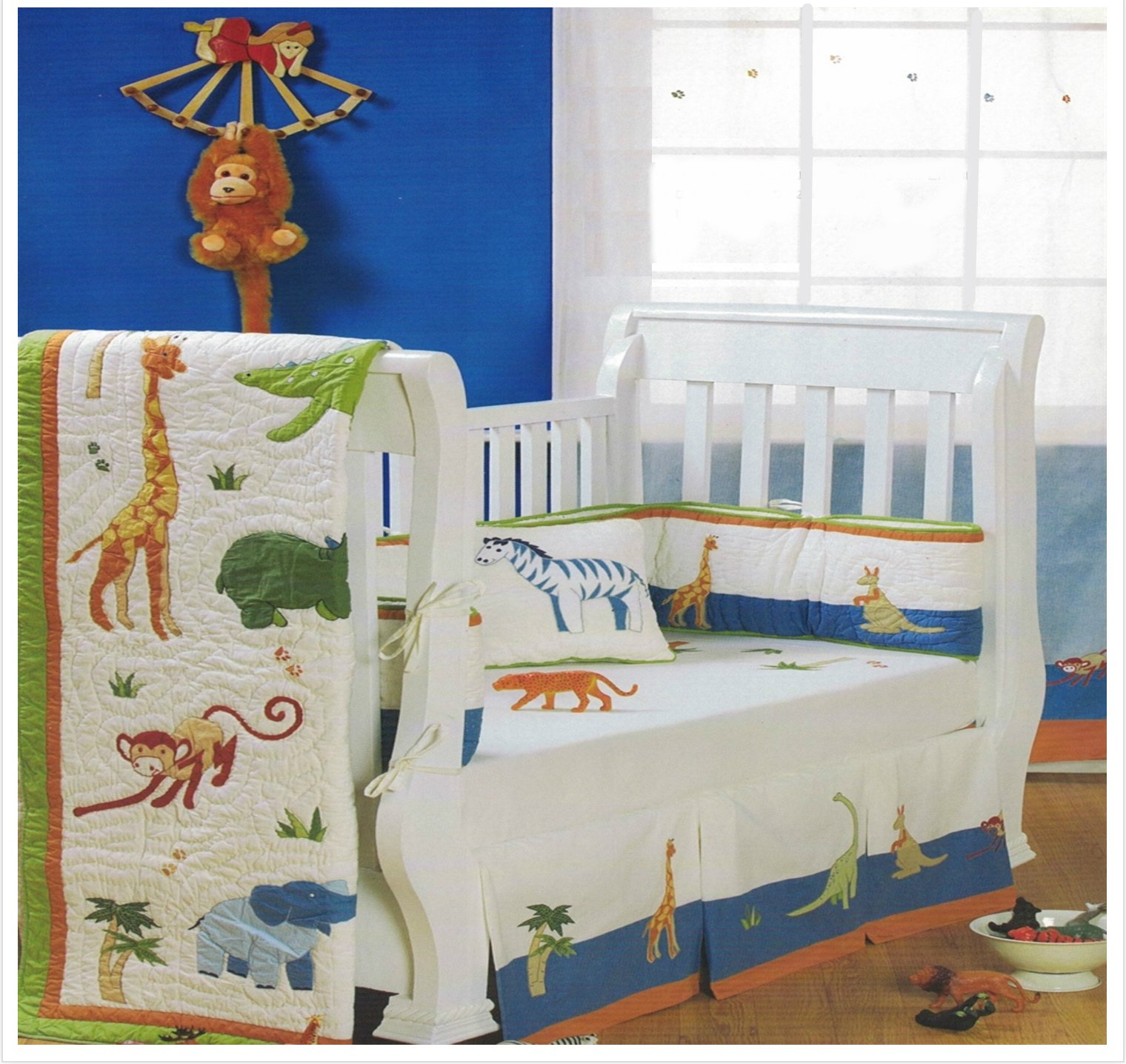 Baby Bedding Crib Sets Boy, 5 Pieces Includes Quilt, Bumper, Pillow, Bed Skirt and Fitted Sheet, Super Soft, With Appliques, 100% India Cotton, Jungle Theme
