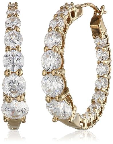 La Lumiere Platinum Plated Sterling Silver Swarovski Zirconia Round Hoop Earrings dTthXK5yop