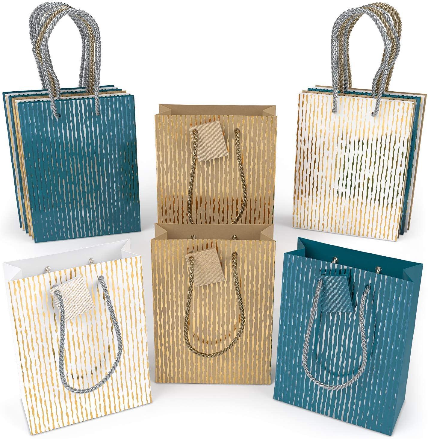 ARTEZA Bolsas de Regalo | 24 x 17.8 x 8.6 cm | Pack de 15 | 3 diseños x 5 | Bolsas de Papel Kraft y de Color | para Regalos de cumpleaños, Bodas y Celebraciones en General