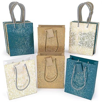Arteza Bolsas de regalo | 24 x 17.8 x 8.6 cm | Pack de 15 | 3 diseños x 5 | Bolsas de papel kraft y de color | para regalos de cumpleaños, bodas y ...
