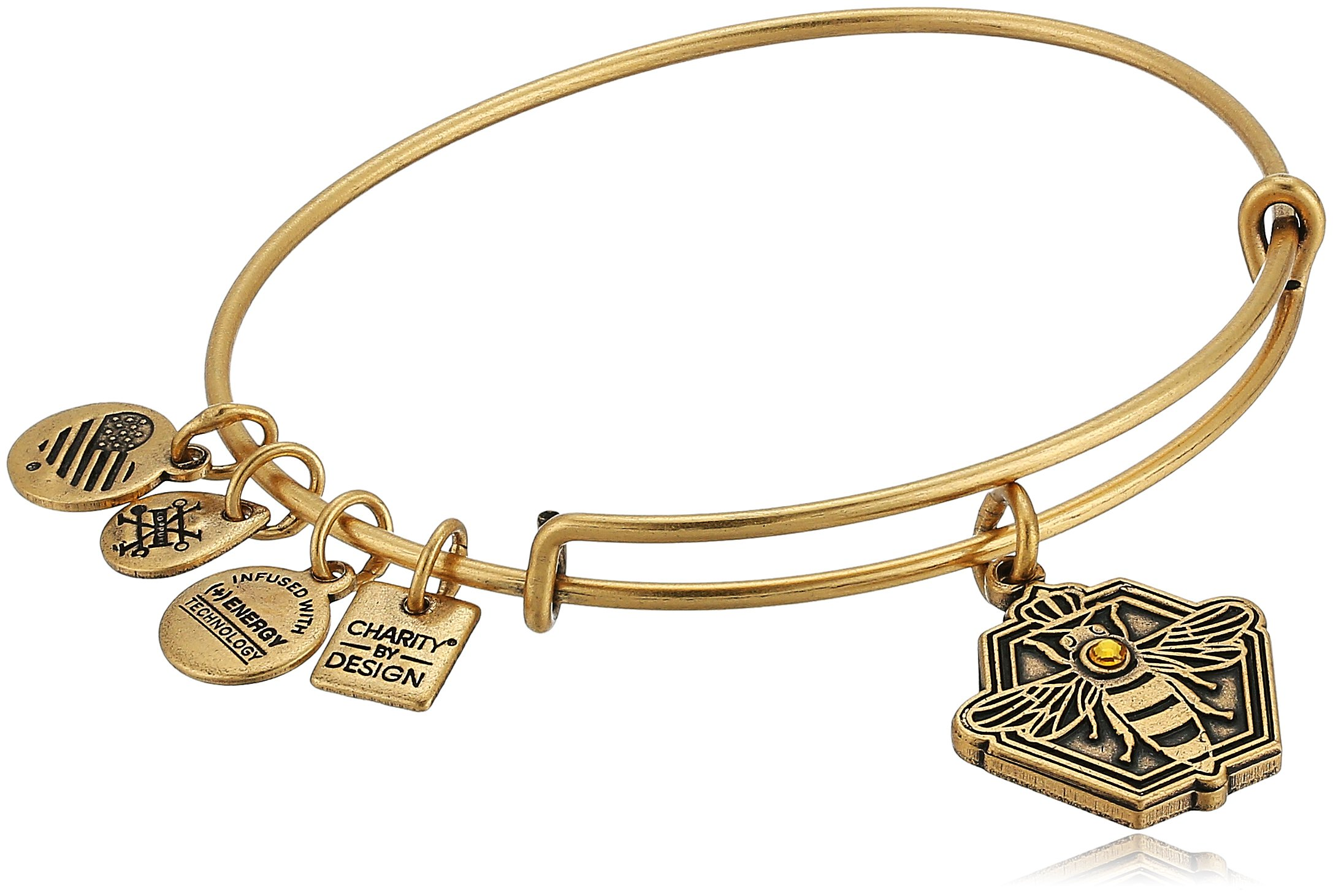 Alex and Ani Charity By Design, Queen Bee Rafaelian Gold Bangle Bracelet