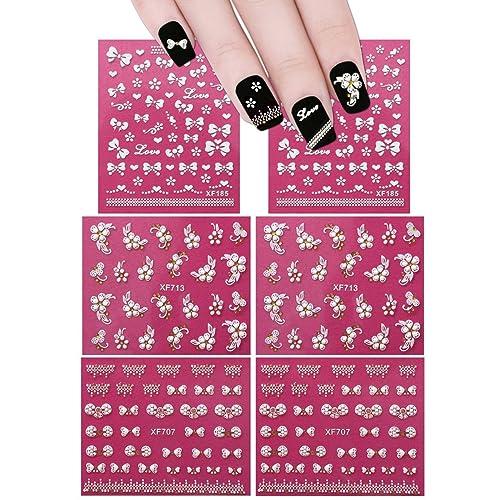 ALLYDREW Fingernail Stickers Nail Art Nail Stickers Self-Adhesive Nail  Stickers 3D Nail Decals - - Flower Nails Design: Amazon.com