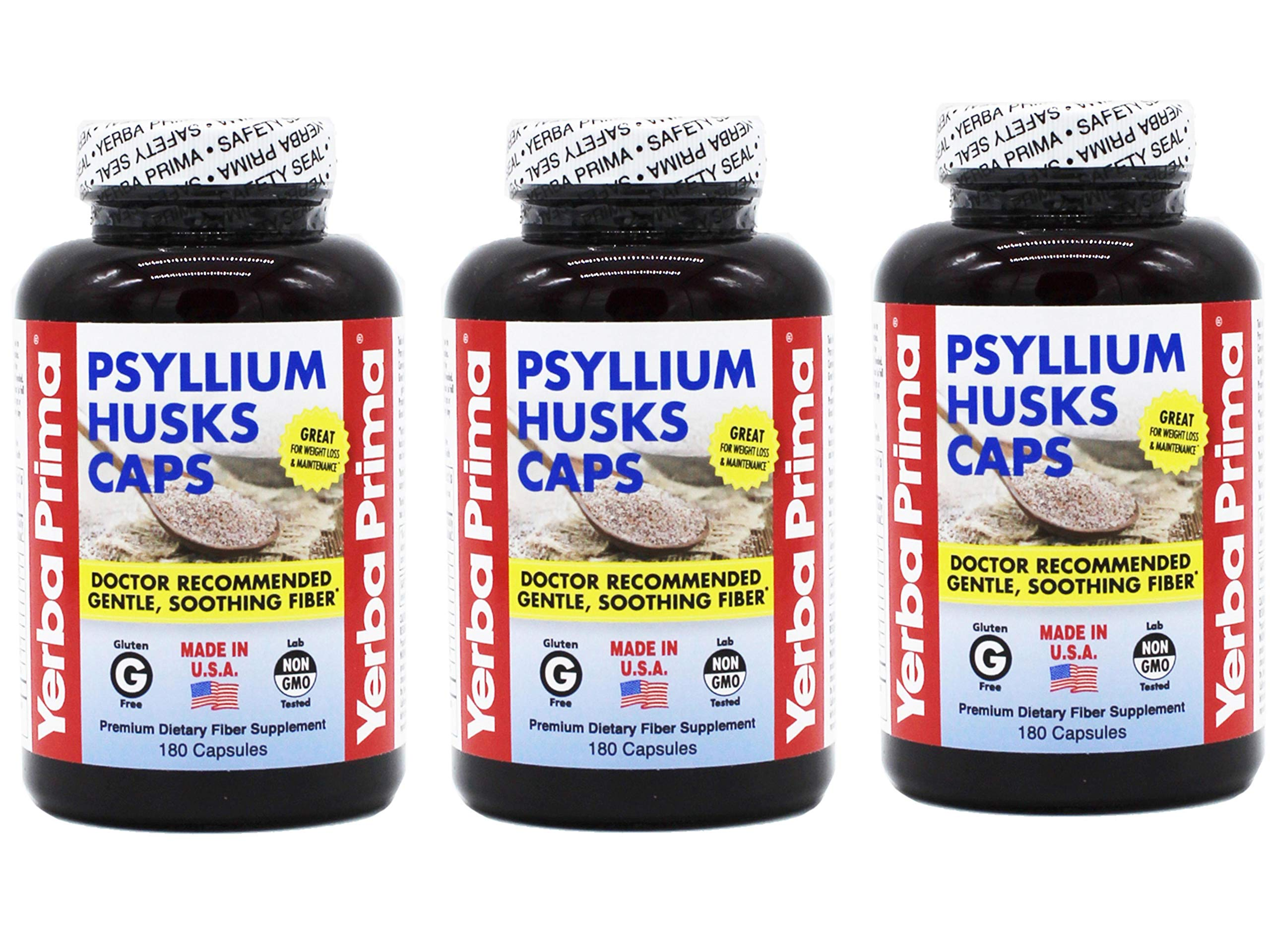 Yerba Prima Psyllium Husks Capsule - 180 per Pack - 3 Packs per case.