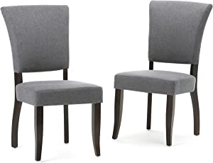 Simpli Home AXCDCHR-001-GL Joseph Contemporary Deluxe Dining Chair (Set of 2) in Slate Grey Linen Look Fabric