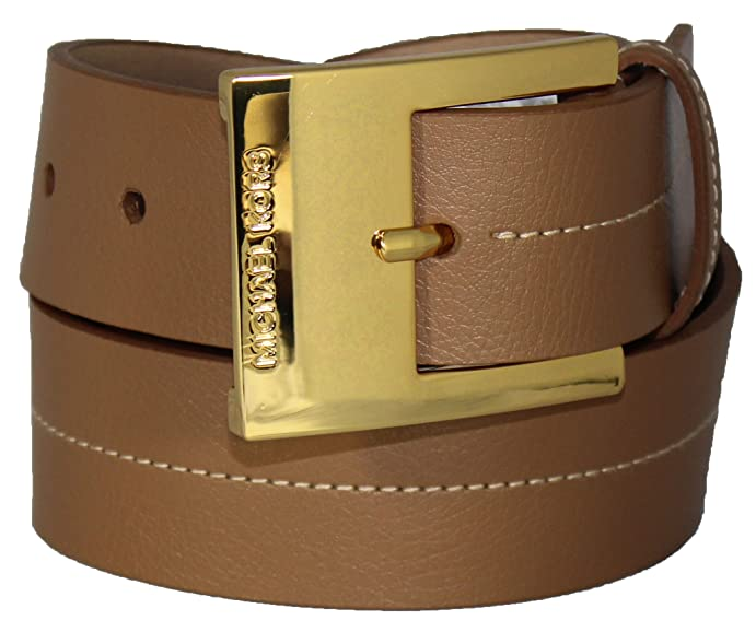 531f5c733660 ... norway michael kors mk logo tan luggage synthetic leather gold buckle  belt size medium a4a83 7e369