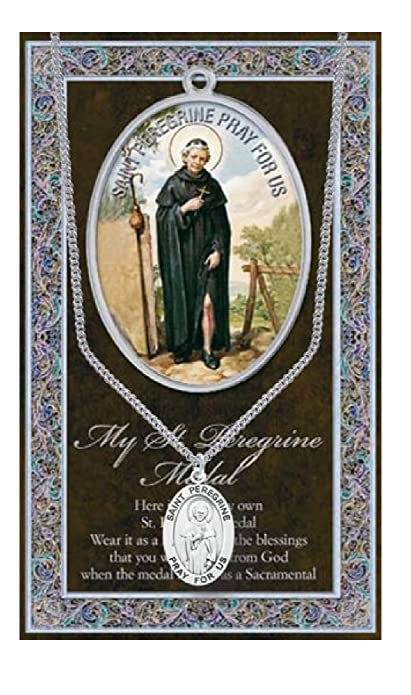 f2565c06b4c Image Unavailable. Image not available for. Color: St Peregrine Pewter  Medal on 18 inch Chain and Embossed Prayer Card Set Cancer
