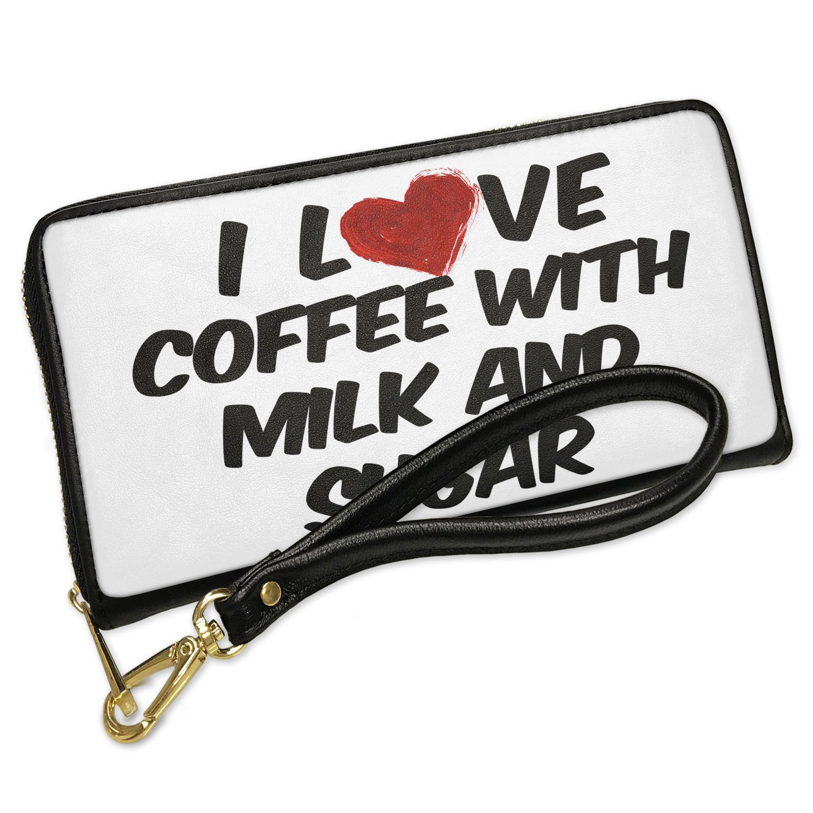 Wallet Clutch I Love Coffee with milk and sugar Coffee with Removable Wristlet Strap Neonblond