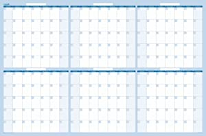 Dry and Wet 180-Day Erasable Wall Calendars by PlanetSafe Calendars. Best in It's Class. Non-ghosting/Staining. (38 x 58, Sky Blue)