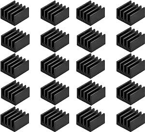 Easycargo 20pcs Small Mini Heatsink Kit + Thermal Conductive Adhesive Tape, Mini Cooler Aluminum Heat Sink for Cooling VRM GPU Stepper Driver MOSFET VRam Regulators (8.8mmx8.8mmx5mm)