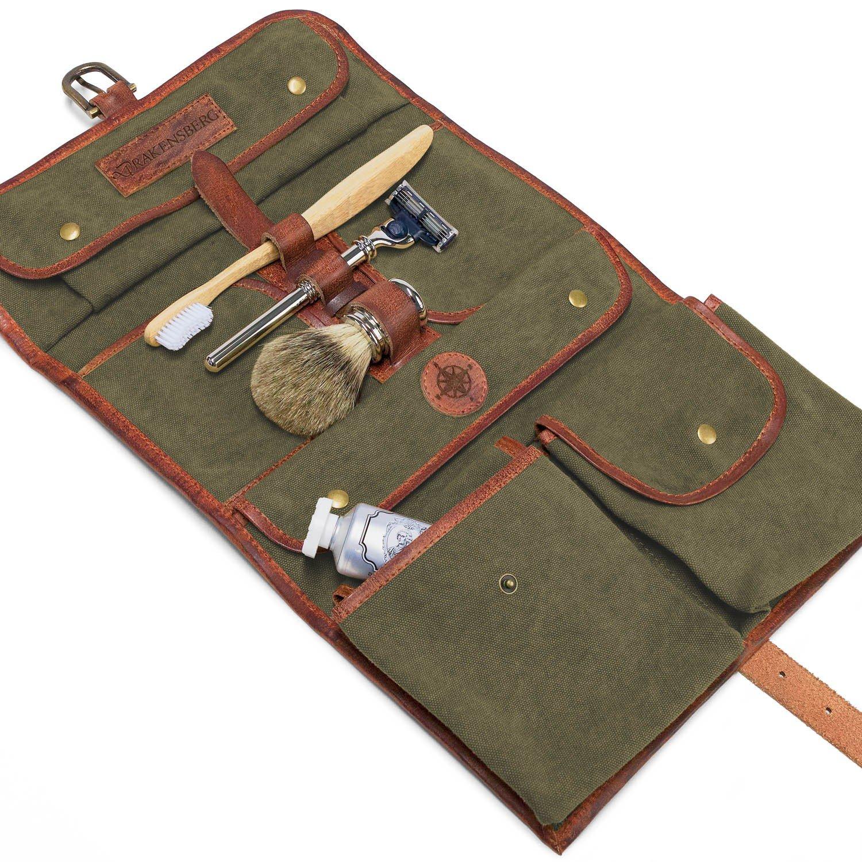 DRAKENSBERG Kimberley Wash Bag, toiletry, buffalo leather, canvas, olive green