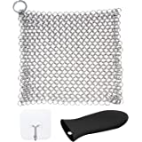"""Olivivi XL 8""""x6"""" Stainless Steel Cast Iron Cleaner Chainmail Scrubbe for Cast Iron Pan PreSeasoned Pan with Drying Hooks Iron Skillet Handle Holder"""