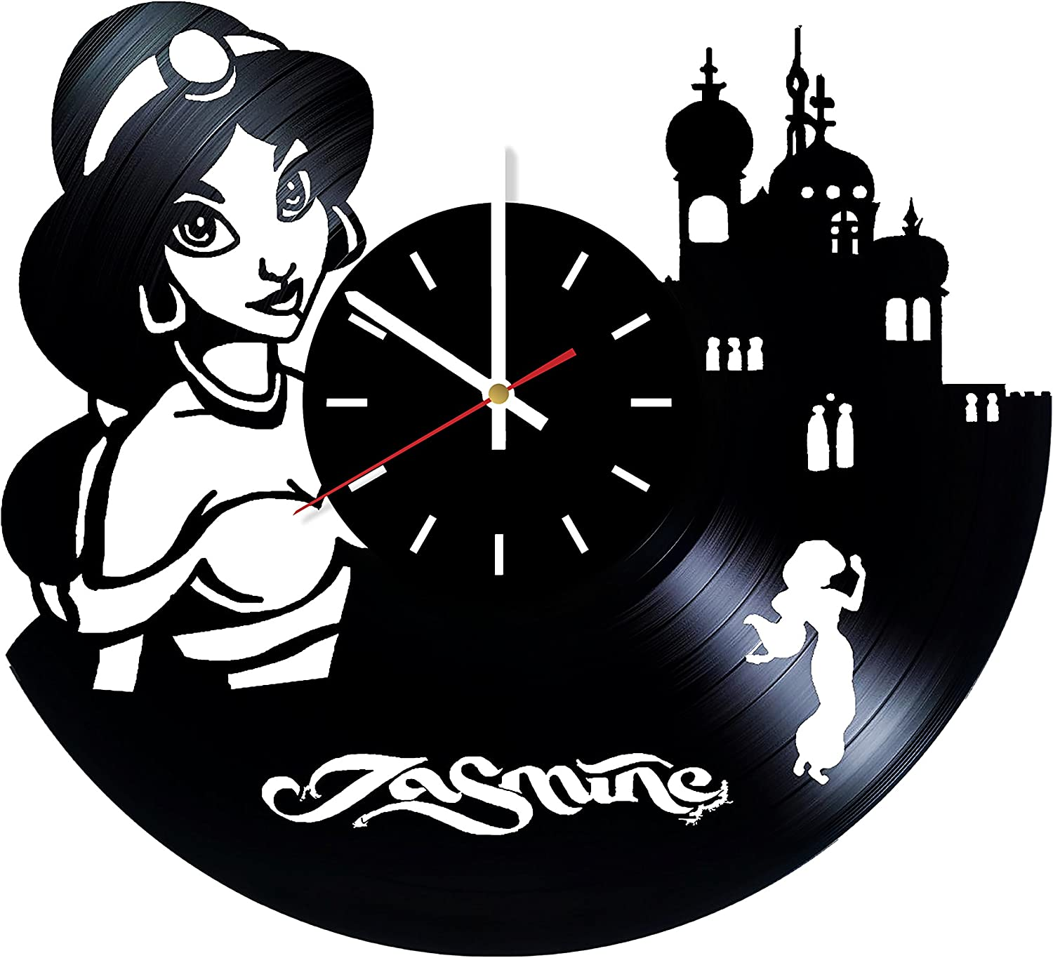 Amazon Com Choma Aladdin And Jasmine Vinyl Record Wall Clock Bedroom Or Nursery Wall Decor Gift Ideas For Girls Sister Baby Unique Art Design Home Kitchen