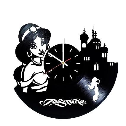 15d7dbffa12c Aladdin y Jasmine reloj de pared de disco de vinilo – dormitorio o  guardería infantil decoración