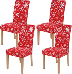 smiry 4 Pack Printed Dining Chair Covers, Stretch Spandex Removable Washable Dining Chair Protector Slipcovers for Home, Kitchen, Party, Restaurant (Red with White)