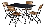 "Mobel Designhaus French Café Bistro Folding Table, Jet Black Frame, 32"" x 48"" x 29"" Height, Rectangular Steel Metal Top"