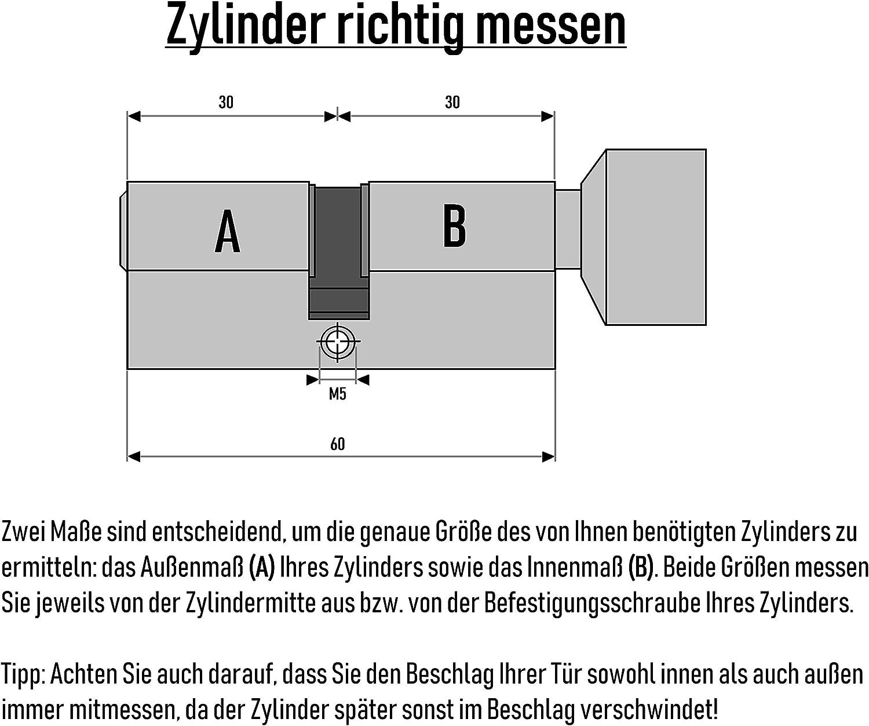 Knaufzylinder KSN 60 mm 30//30 inkl 5 Schl/üssel