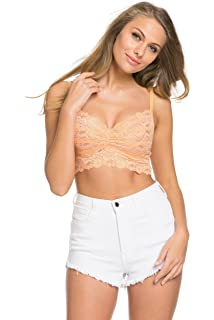 eb88d58dac Wishlist Women s Essential Sexy Vintage Floral Non Padded Lace Bralette  Crop Top