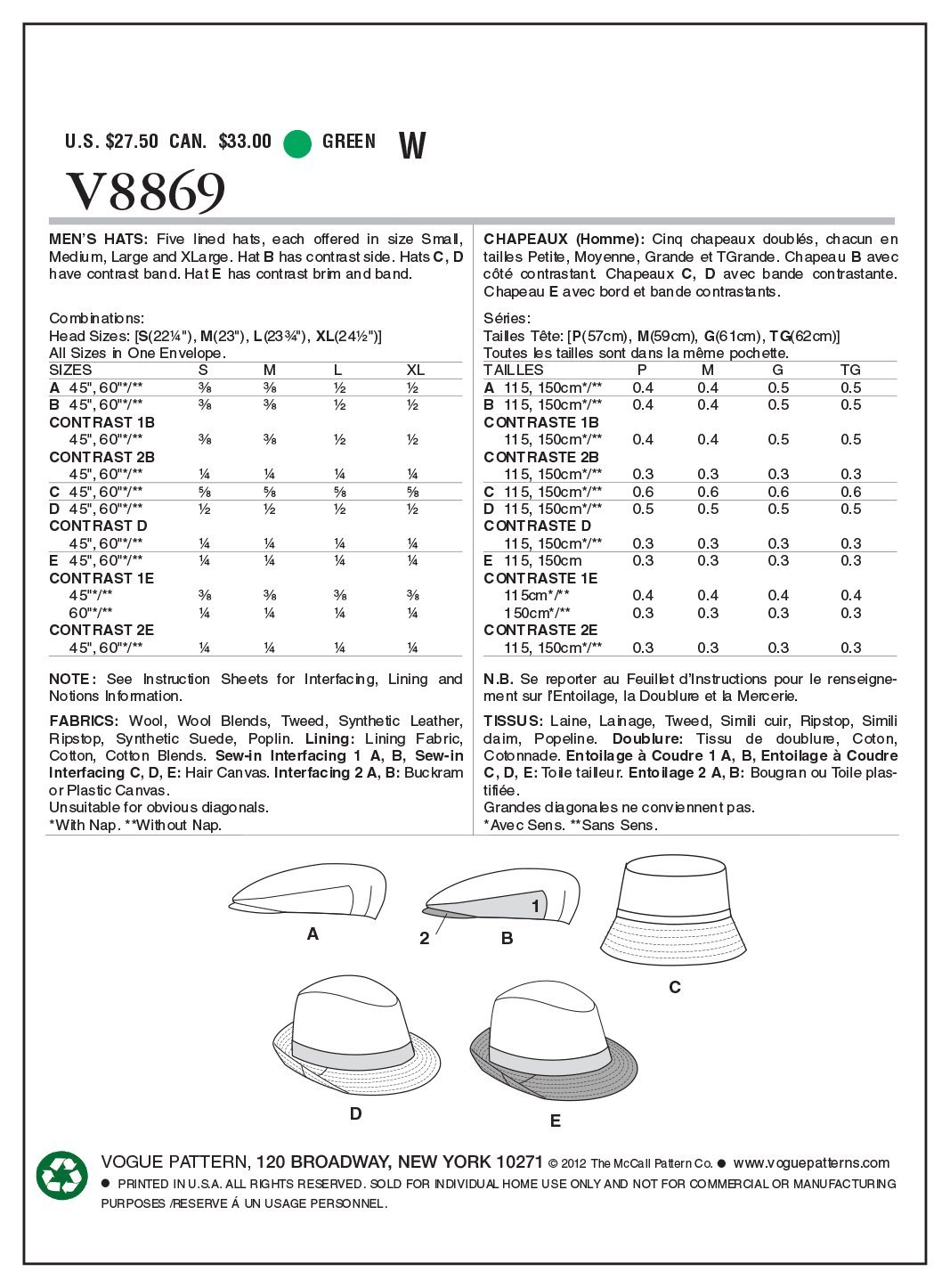 Vogue Patterns V8869 - Patrones de costura para sombreros de hombre ...