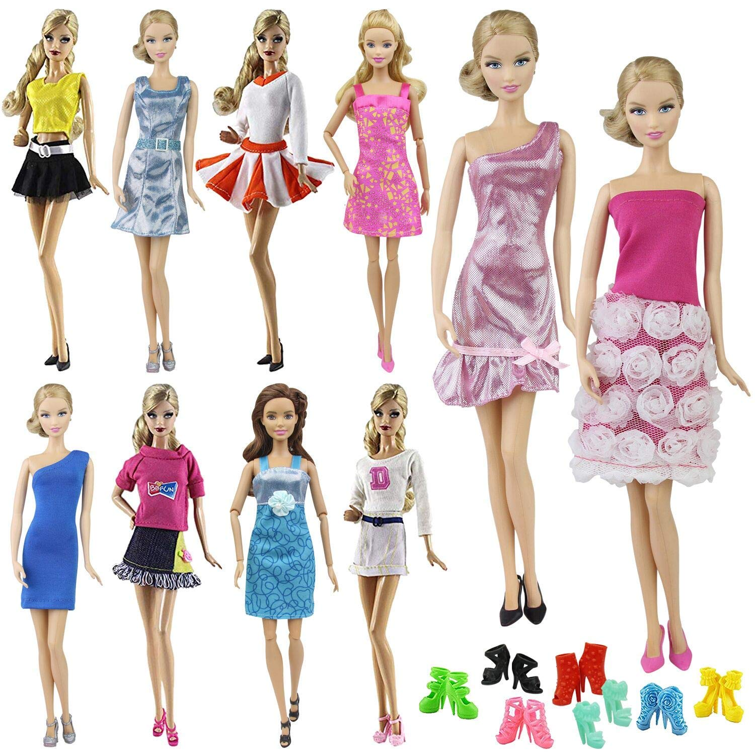 51a301737c7b Amazon.com  ZITA ELEMENT 10 Items   5 Fashion Clothes Dress Outfits + 5  Shoes for 11.5 Inch Girl Doll Accessories - Random Style  Toys   Games