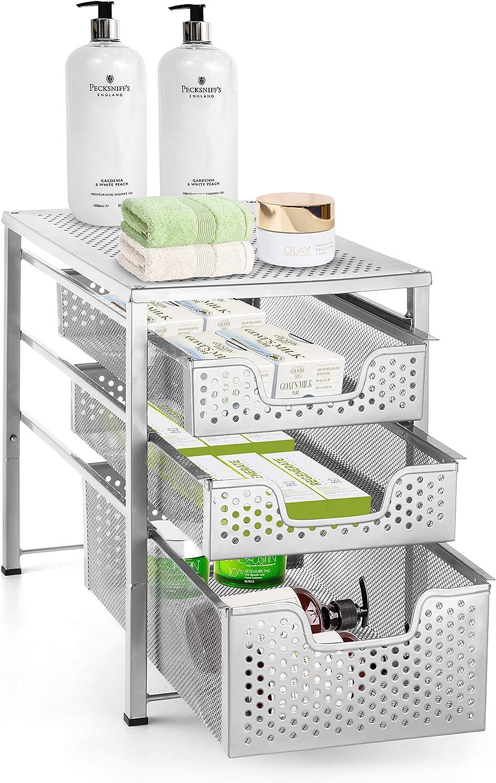 Desktop Organizer for Kitchen Bathroom Office Blue Stackbale Simple Trending 3-Tier Under Sink Cabinet Organizer with Sliding Storage Drawer