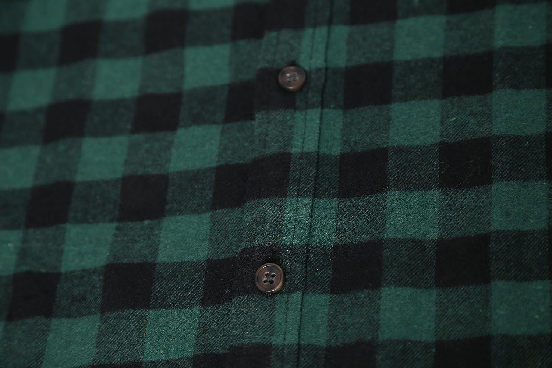 Deborri Mens Button Down Long Sleeve Plaid Flannel Shirt Green XXXL