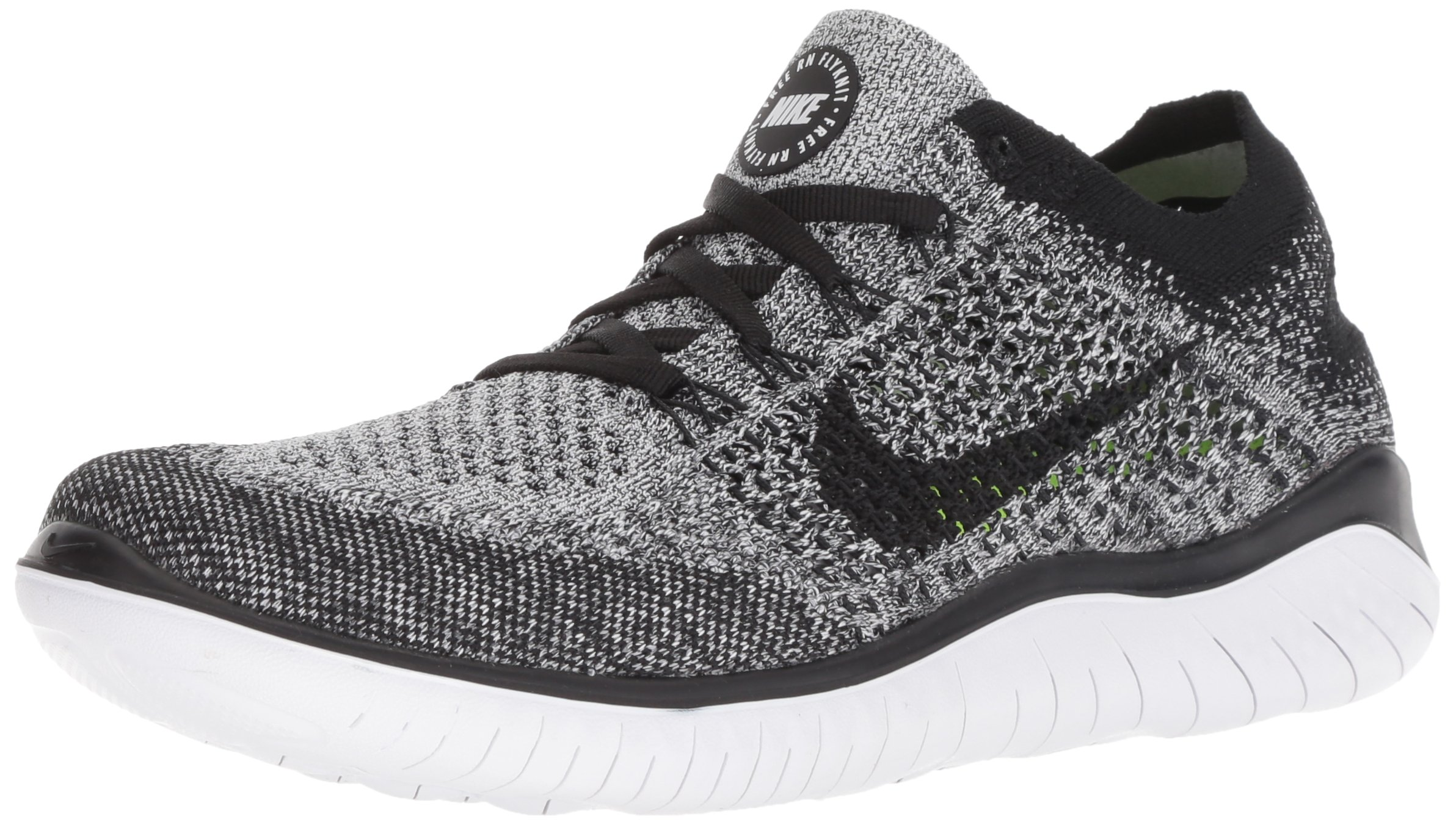 Nike Womens Free RN Flyknit Running Shoes White/Black 8 by Nike