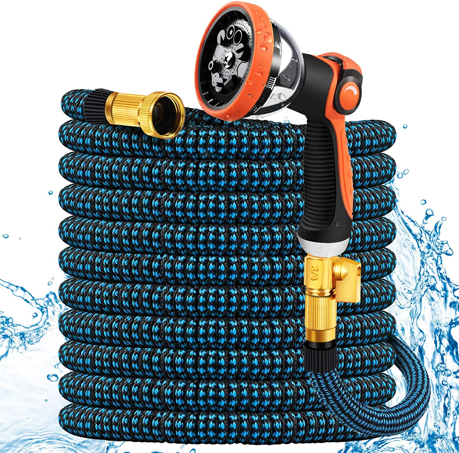 Expandable Garden Hose 25ft, Flexible Lightweight Water Hose with 10 Functiona Spray Nozzle, Expanding Hose for Lawn Car Pet Washing
