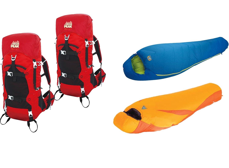 Alpinizmo High Peak USA Summit 0 F und Latitude 20 F + zwei 40 Liter Wandern Combo, Rot/Orange/Blau, One Größe