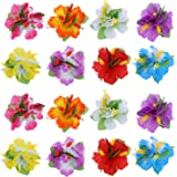 BBTO 24 Pieces Flower Hair Clips Multicolor Hawaiian Hibiscus Flower Hair Accessories Girls Women Beach Wedding Party Supplies