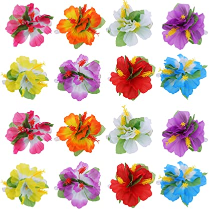 d9b0240bd9c6 Amazon.com: BBTO 24 Pieces Flower Hair Clips Multicolor Hawaiian Hibiscus Flower  Hair Accessories for Girls Women Beach Wedding Party Supplies: Toys & Games