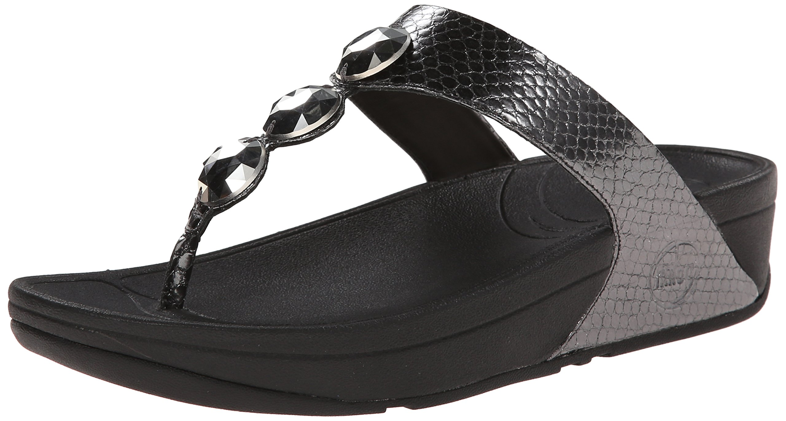 FitFlop Women's Petra Flip Flop, Pewter, 7 M US