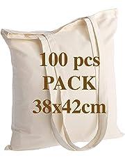 POLHIM Sac en coton de qualité 145 grammes taille 38x42 cm poignées longues 70 cm nature 100% coton.