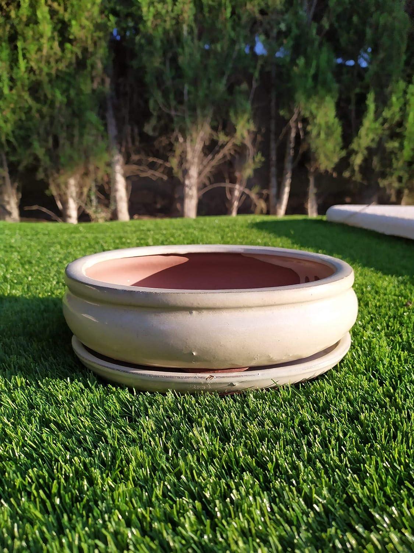 Tiestos de cerámica Color Crema esmaltados a Mano para Bonsai (26 ...