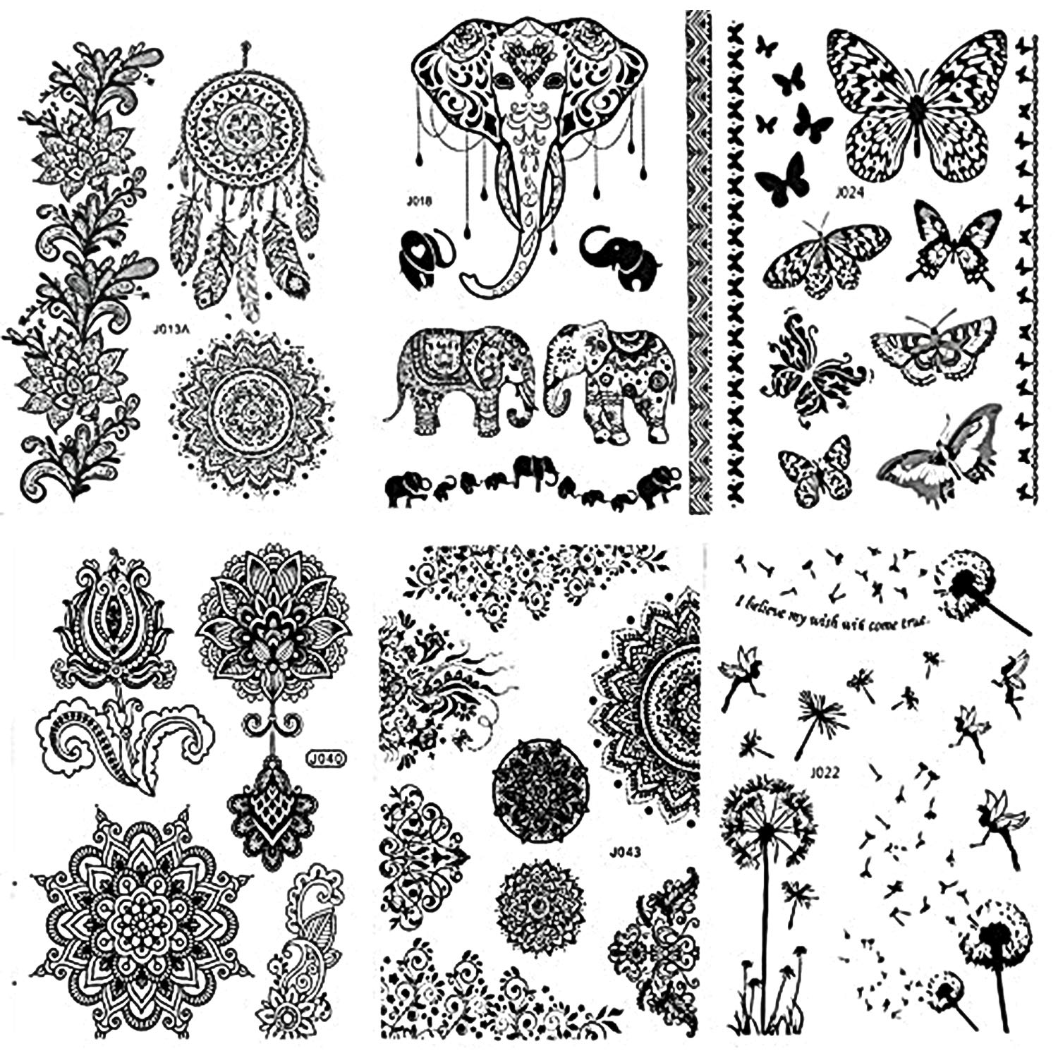 Pinkiou Henna Tattoo Stickers Lace Mehndi Temporary Tattoos for Maverick  Women Teens Girls Metallic Tattooing Pack of 6 (black)