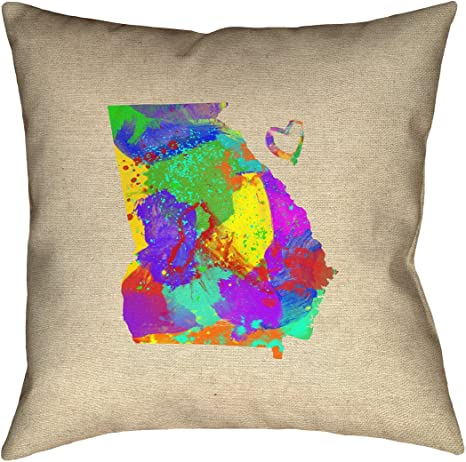 ArtVerse Katelyn Smith Utah Watercolor 14 x 14 Pillow-Faux Linen Double Sided Print with Concealed Zipper /& Insert Updated Fabric