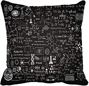 Awowee Throw Pillow Cover Education Science Formulas on Chalkboard for School Math Schematic 18x18 Inches Pillowcase Home Decorative Square Pillow Case Cushion Cover