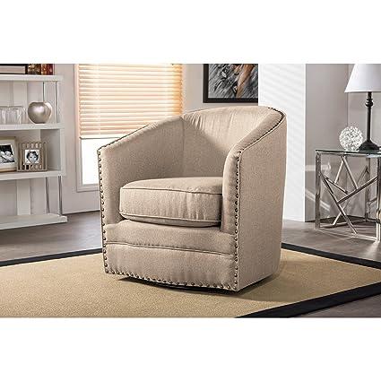 Wholesale Interiors Porter Classic Retro Fabric Upholstered Swivel Tub Chair,  Beige