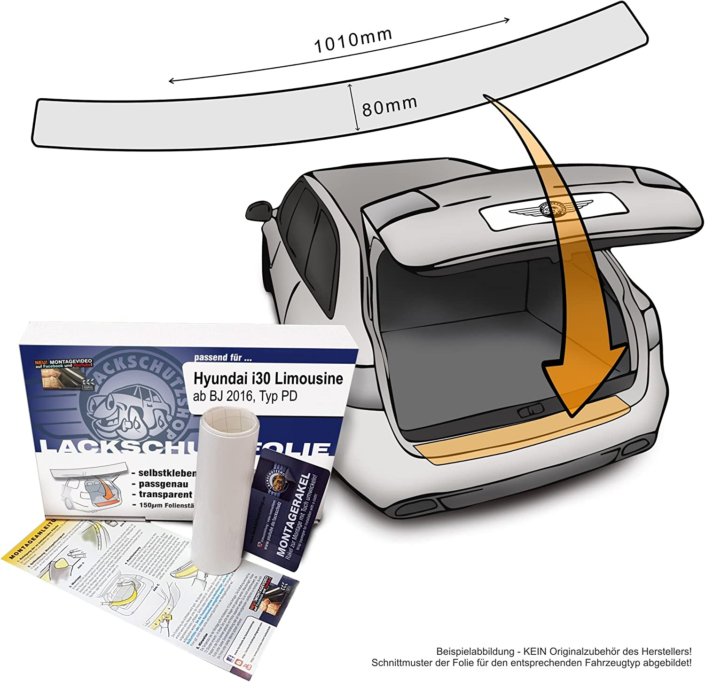 Passend Für Hyundai I30 Limousine Typ Pd Ab 17 Passform Lackschutzfolie Als Selbstklebender Ladekantenschutz Autofolie Und Schutzfolie Transparent 150µm Auto