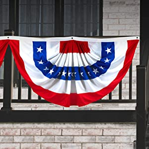 G128 - USA Pleated Fan Flag, 3x6 Feet American USA Bunting Decoration Flags Embroidered Patriotic Stars & Sewn Stripes Canvas Header Brass Grommets