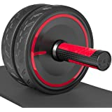 Readaeer Metal Handle Ab Roller Wheel with Knee Pad Abdominal Exercise for Home Gym Fitness Equipment