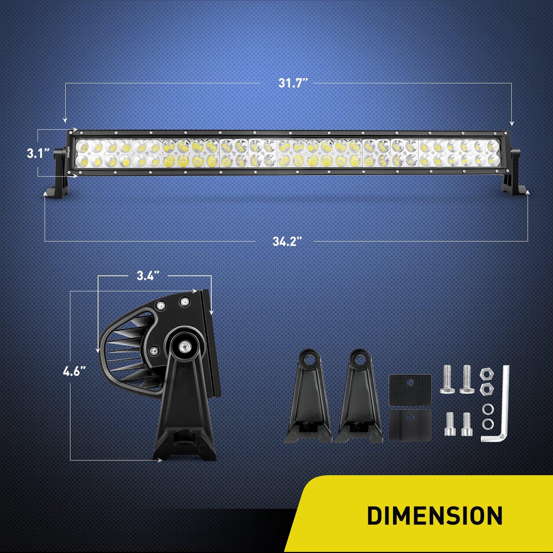 Nilight Barra de luz LED 32 Pulgadas 180 W Spot Flood Combo LED lámpara de conducción Off Road Luces LED luz de Trabajo lámpara de Barco Jeep, ...