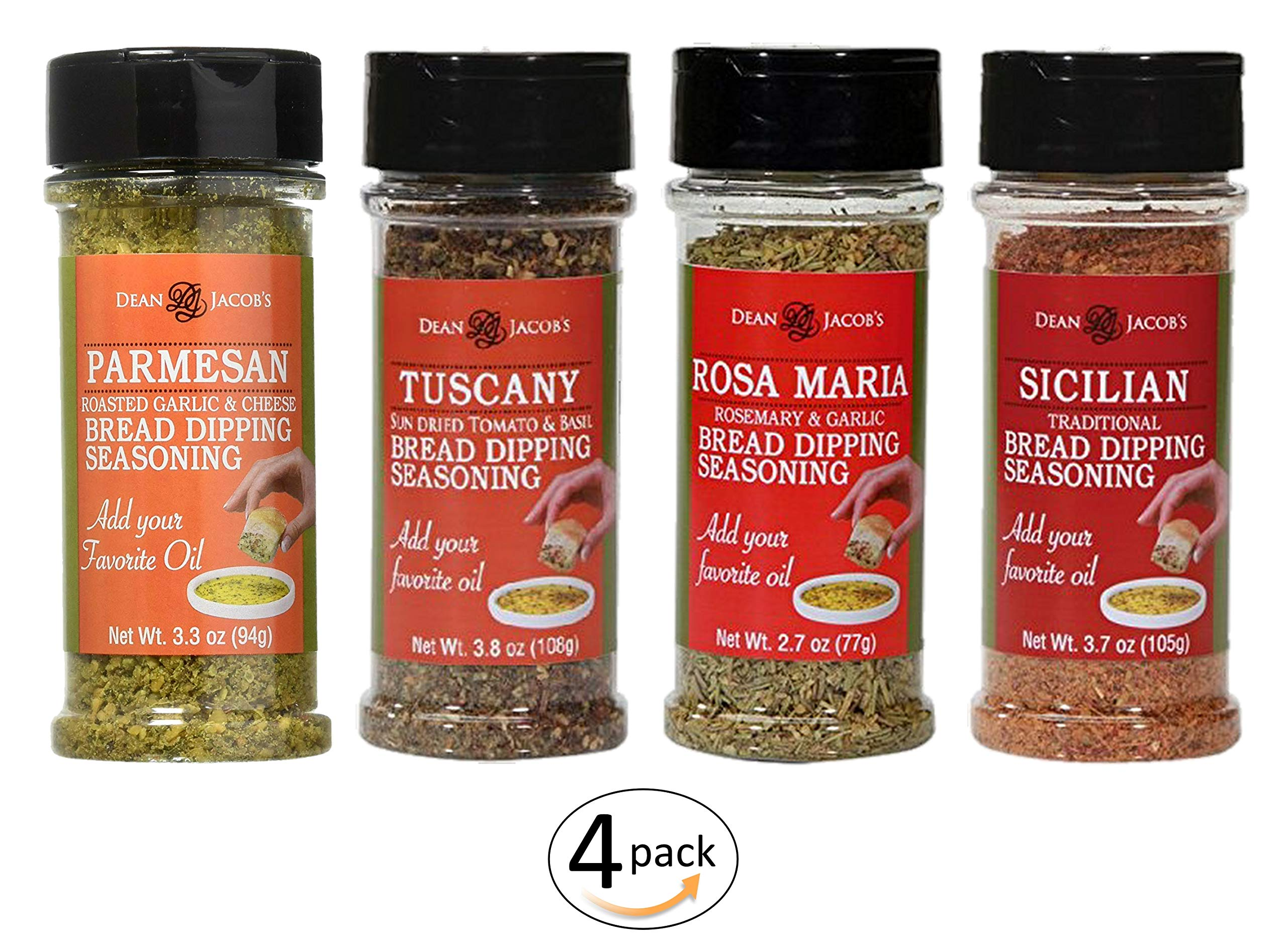 4 Italian Bread Dipping Seasoning Flavors: Parmesan 3.3oz - Tuscany 3.8oz - Sicilian 3.7oz - Rosa Maria 2.7oz in 4 Stacker Jars