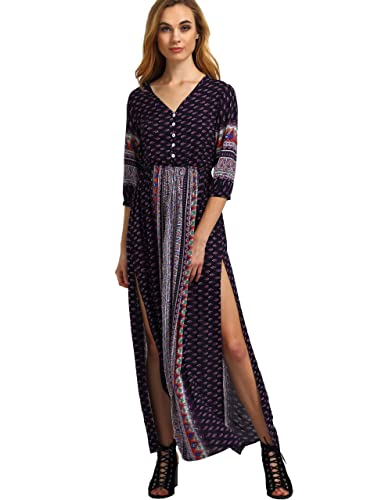 ROMWE Women's Summer Casual Half Sleeve Vintage Print Split Maxi Dress Navy S