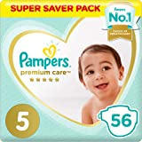 Pampers Premium care Diapers, Size 5, Junior, 11-16 kg, Super Saver Pack, 56 Count