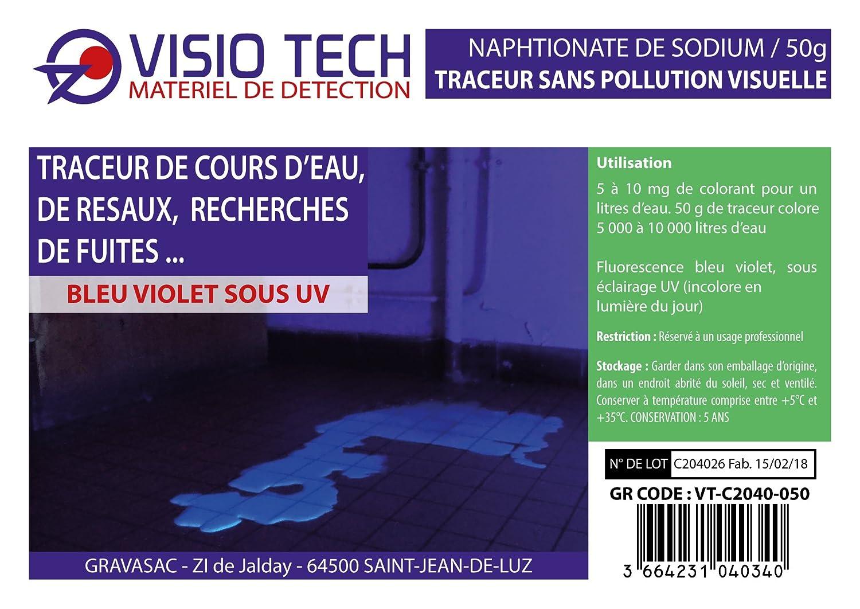 Visio Tech - Localizador incoloro visible bajo UV, polvo soluble en el agua - 50 G: Amazon.es: Bricolaje y herramientas